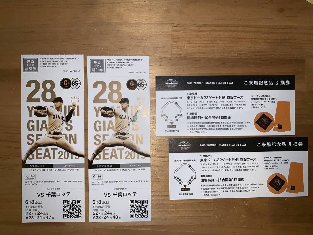 6/8(土) 巨人 vs 千葉ロッテ 東京ドーム ネット裏1階 スターシート 2枚ペア 連番_画像2