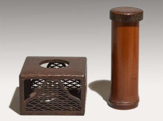 遠州好 時代煙草盆 鉄刀木に網と七宝透し入 灰吹き付 茶道具 a0934_画像3