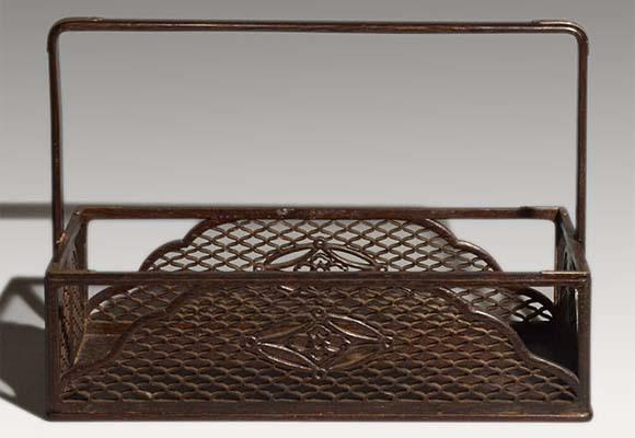 遠州好 時代煙草盆 鉄刀木に網と七宝透し入 灰吹き付 茶道具 a0934_画像2