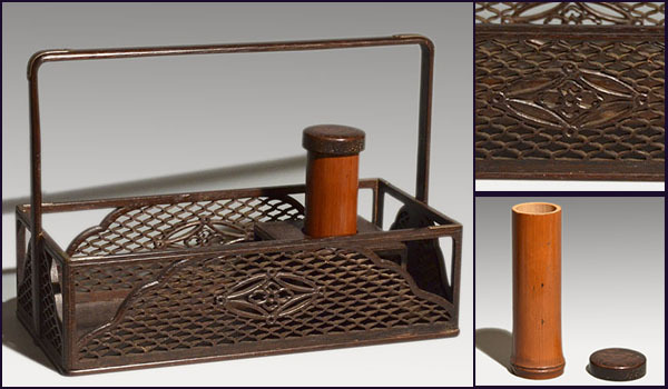 遠州好 時代煙草盆 鉄刀木に網と七宝透し入 灰吹き付 茶道具 a0934_画像1