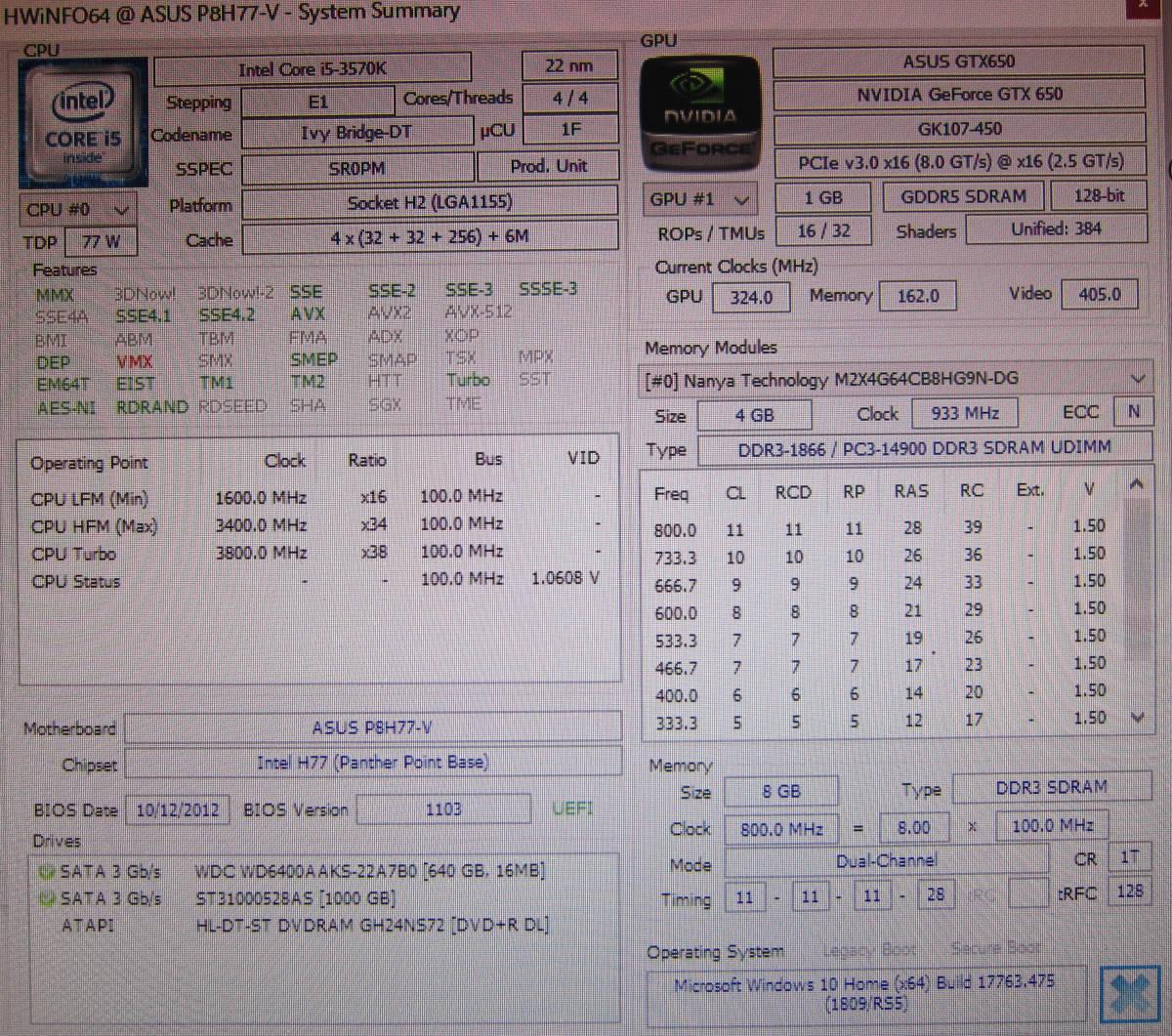 ●M112 自作 タワー型デスクトップ アルミケース Corei5-3570K 3.4GHz/8GB/1TB+640GB/DVDマルチ/GeForce GTX650/Win10_画像7