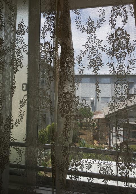 (130×280cm)フランスレース チュール スカラップ 海外輸入品カーテン生地★アンティーク調 花柄オーナメント 布ハギレ フレンチカントリー_画像10