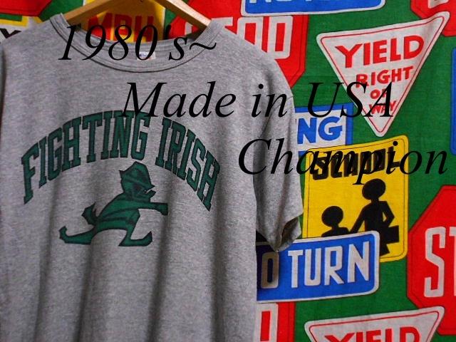 ★霜降りボディーが◎な1枚★Made in USA製アメリカ製Championチャンピオンビンテージ染み込みカレッジプリントTシャツ80s80年代トリコタグ_♪1980s~ Champion♪