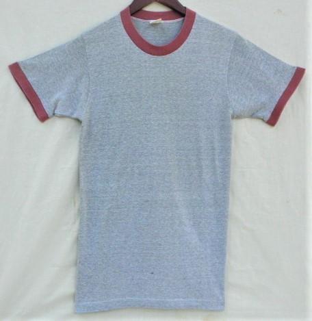 ビンテージ 50s60s TOWNCRAFT タウンクラフト OLD Tシャツ 初期1st グレー霜降り杢 リンガートリム ツートン 旧タグ旧ロゴ ワーク カレッジ
