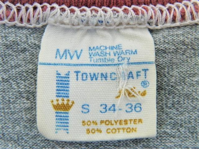ビンテージ 50s60s TOWNCRAFT タウンクラフト OLD Tシャツ 初期1st グレー霜降り杢 リンガートリム ツートン 旧タグ旧ロゴ ワーク カレッジ_画像4