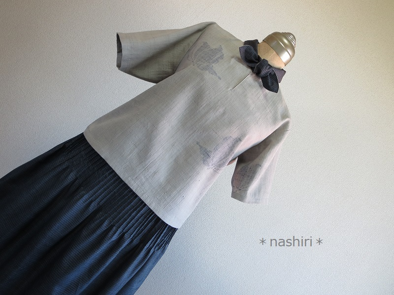 *nashiri* 着物リメイク ハンドメイド ブラウス スカート セットアップ 紬 大島紬 正絹 ピンタック トップス ボトムス