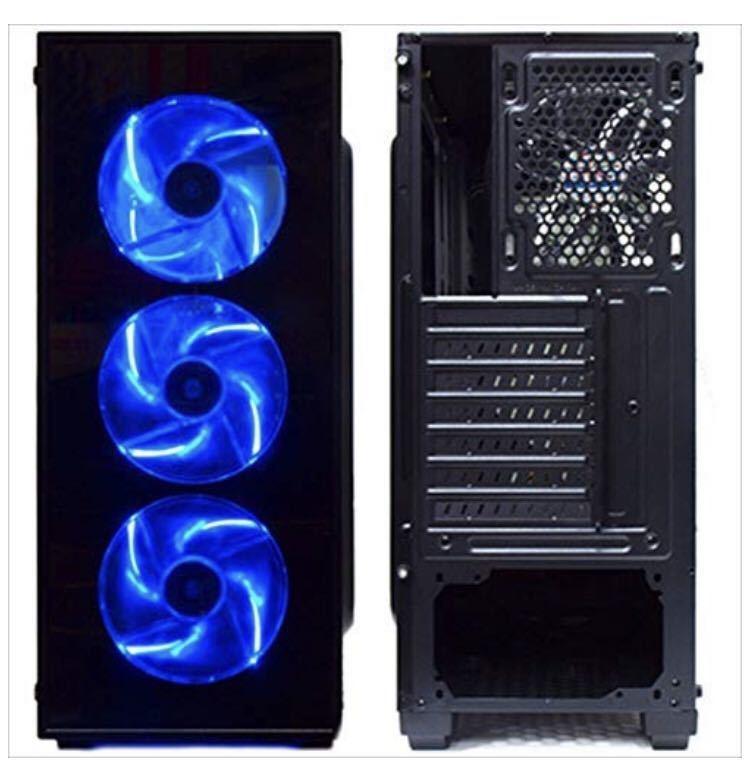 送料無料 サイズ 強化ガラス採用 ブルーLEDファン4基搭載 ATXミドルタワーPCケース_画像2