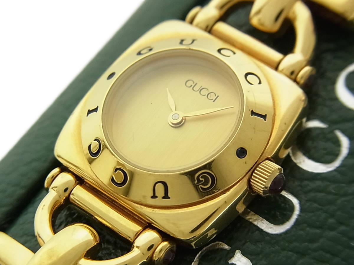 1円 グッチ 美品 6300L ロゴ ホースビット 純正 リザード 型押し レザー ベルト クォーツ アナログ 腕時計 ウォッチ 動作品 ケース付き