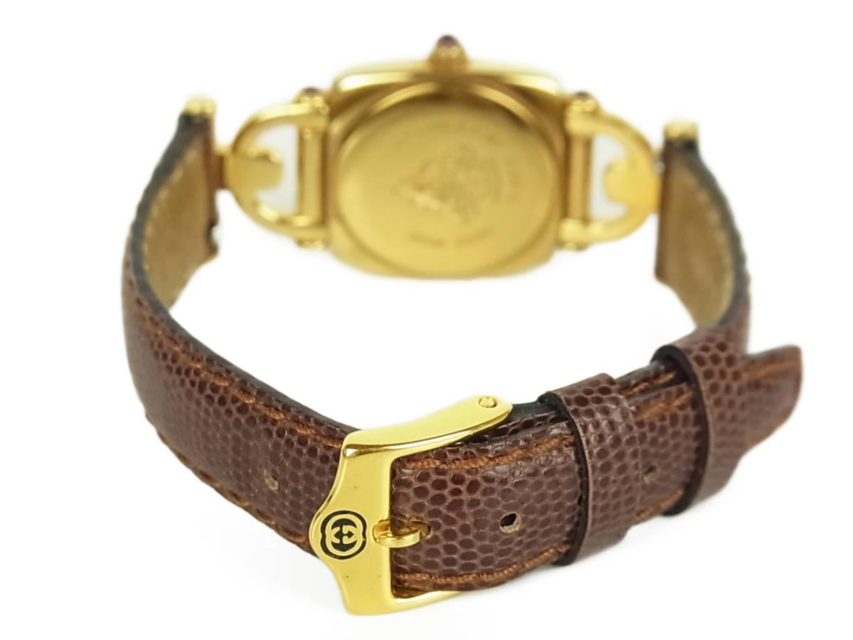 1円 グッチ 美品 6300L ロゴ ホースビット 純正 リザード 型押し レザー ベルト クォーツ アナログ 腕時計 ウォッチ 動作品 ケース付き_画像7