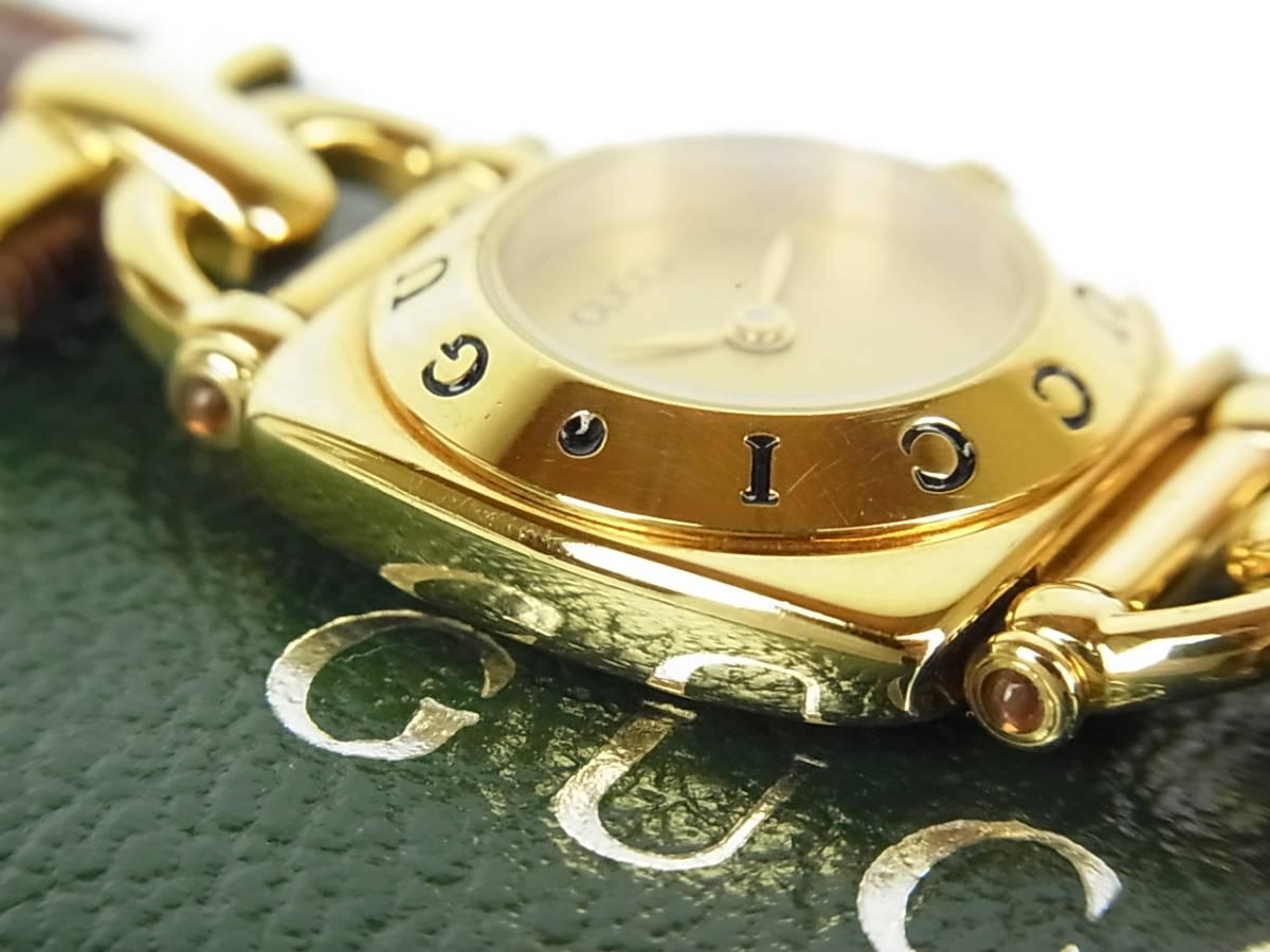 1円 グッチ 美品 6300L ロゴ ホースビット 純正 リザード 型押し レザー ベルト クォーツ アナログ 腕時計 ウォッチ 動作品 ケース付き_画像5