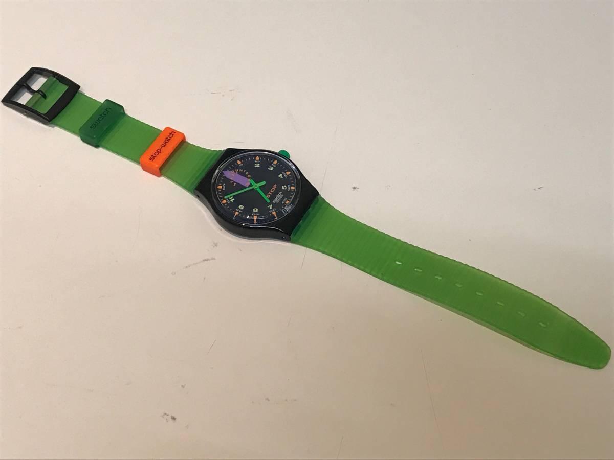 □3616□Swatch/スウォッチ 黒緑 SSB100 ジャンク!_画像6