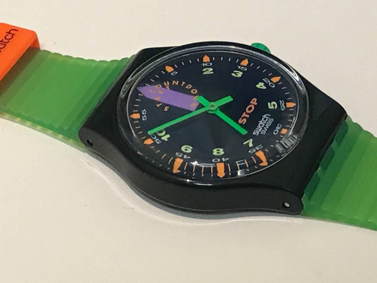 □3616□Swatch/スウォッチ 黒緑 SSB100 ジャンク!_画像5