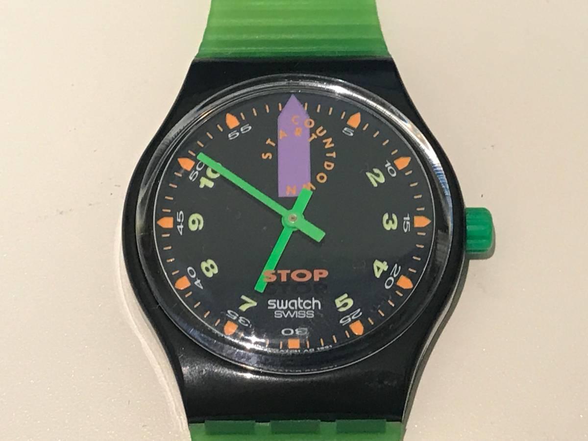 □3616□Swatch/スウォッチ 黒緑 SSB100 ジャンク!