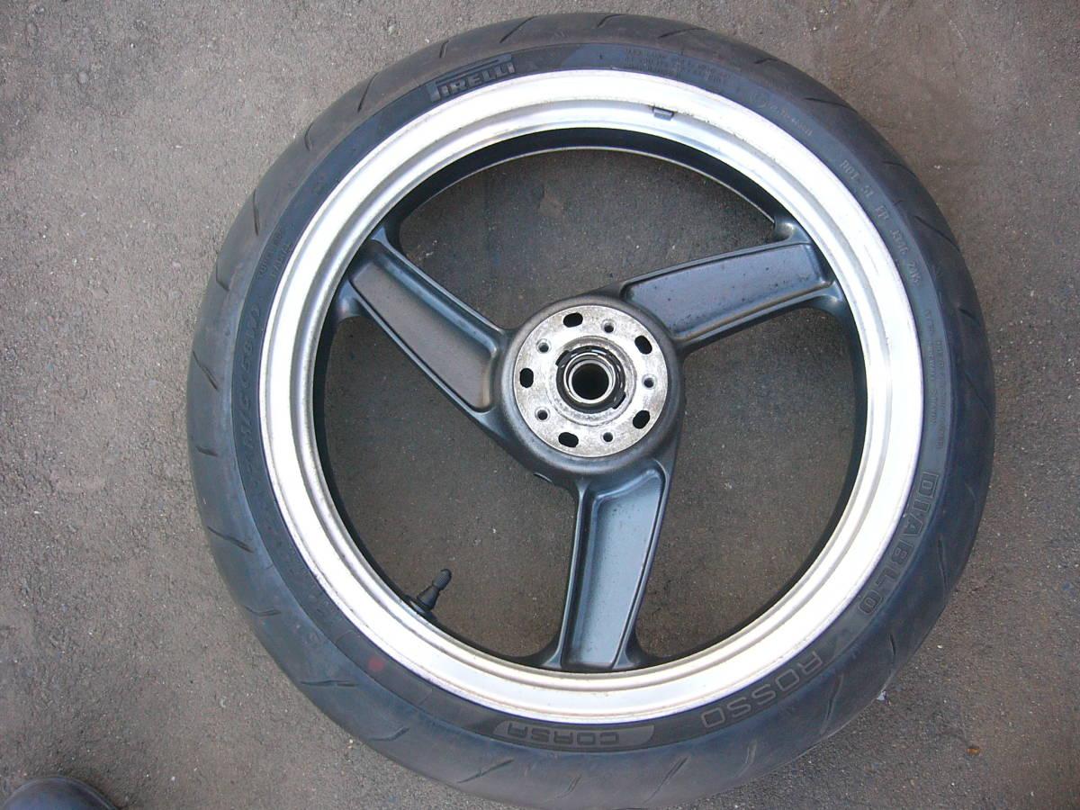 ZZR1100 D フロントホイール&タイヤ 3.50×17 120/70ZR17  ピレリ ディアブロロッソコルサ GPZ900R流用など