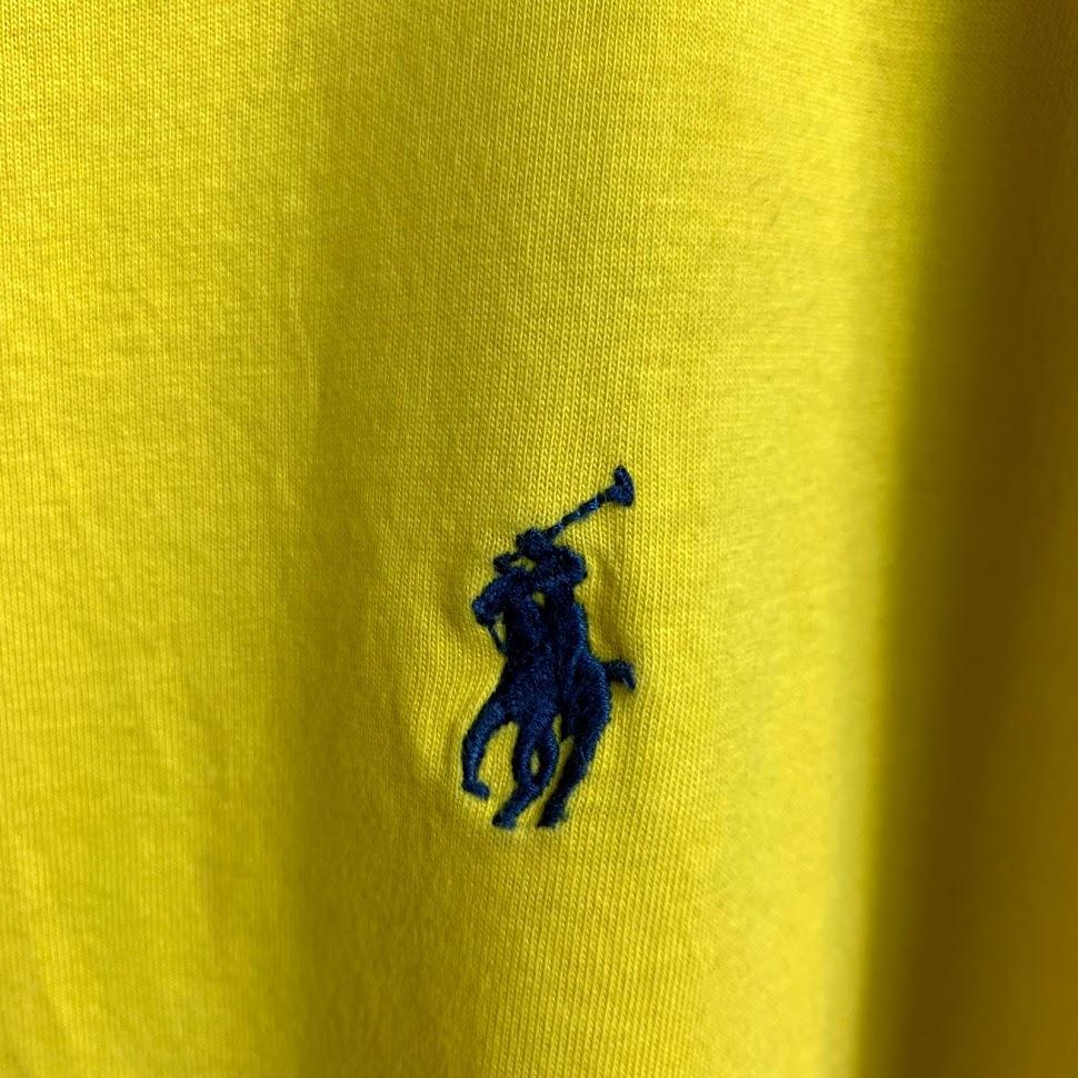 ポロ ラルフローレン Vネック XLサイズ ワンポイント 半袖 カットソー POLO Ralph Lauren メンズ Tシャツ イエロー 黄色_画像3