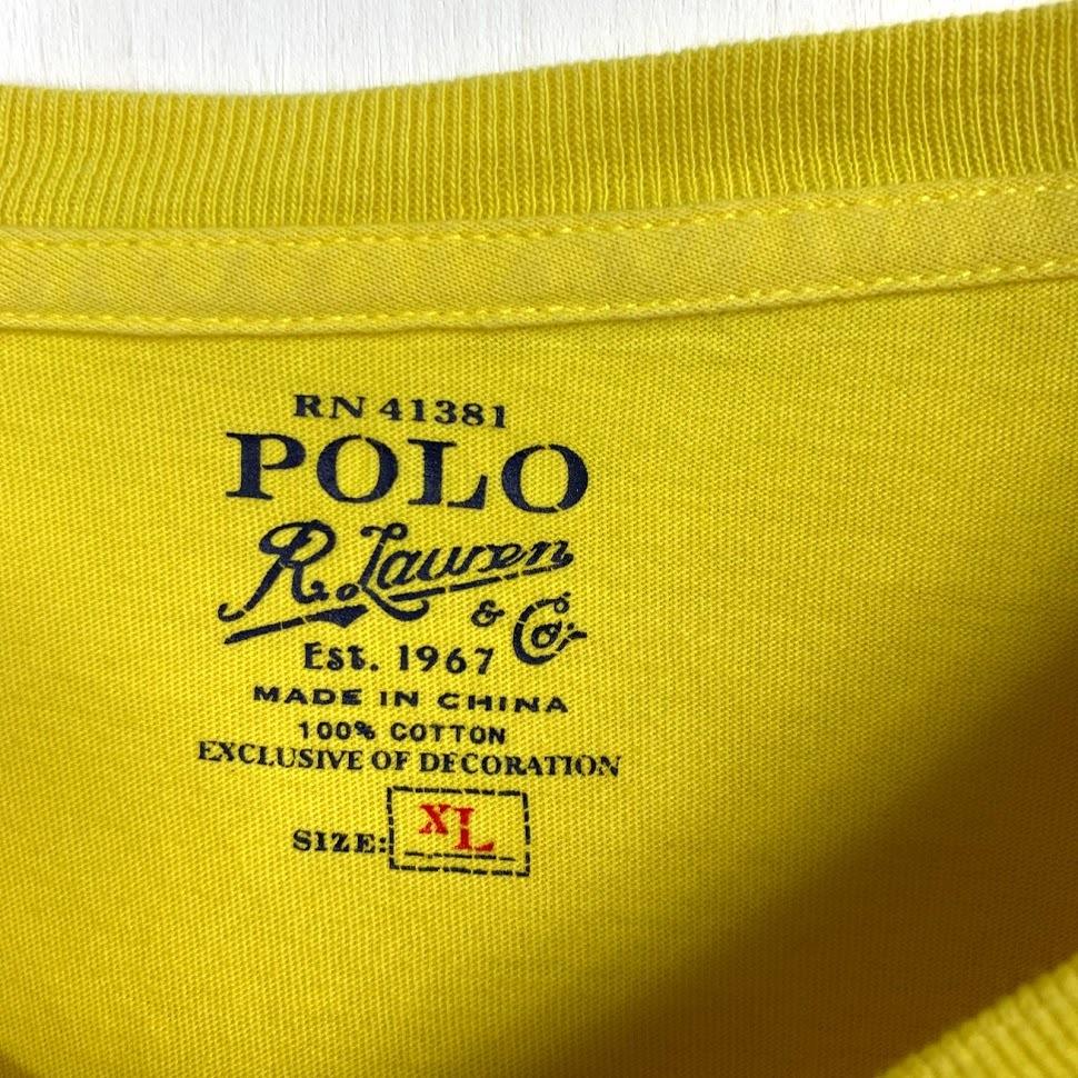 ポロ ラルフローレン Vネック XLサイズ ワンポイント 半袖 カットソー POLO Ralph Lauren メンズ Tシャツ イエロー 黄色_画像2