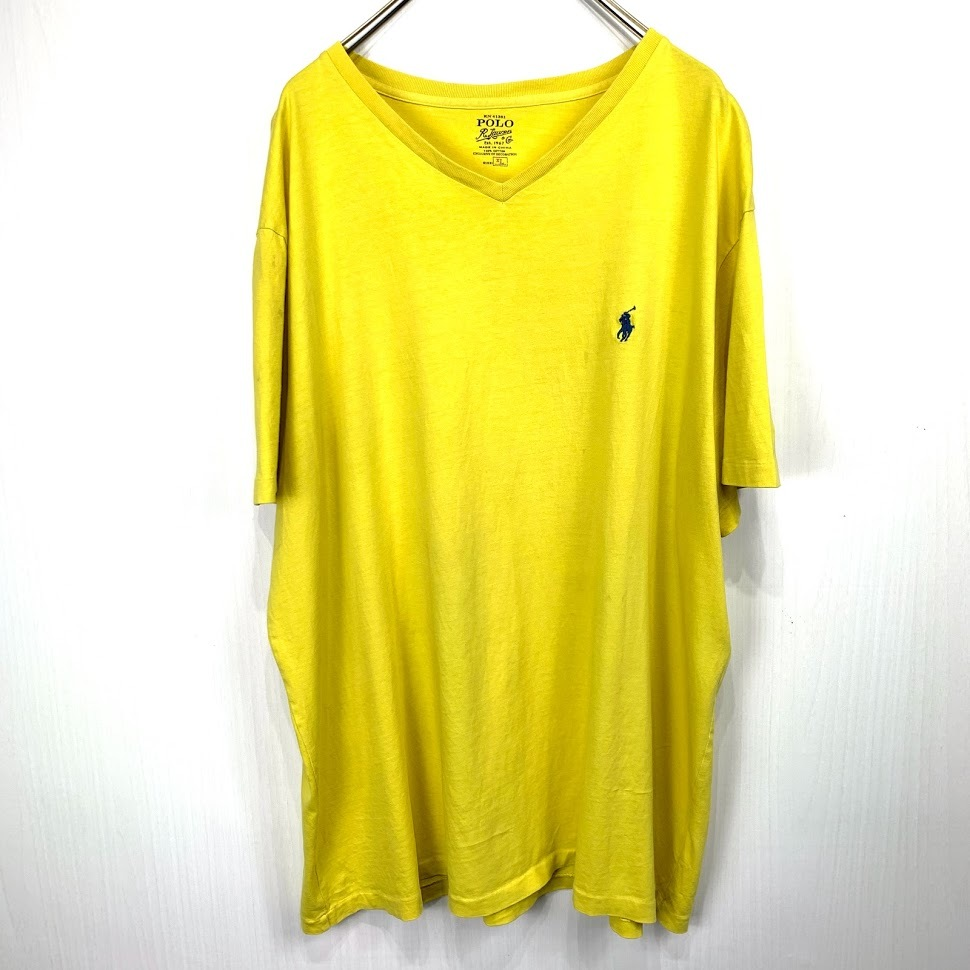 ポロ ラルフローレン Vネック XLサイズ ワンポイント 半袖 カットソー POLO Ralph Lauren メンズ Tシャツ イエロー 黄色_画像1