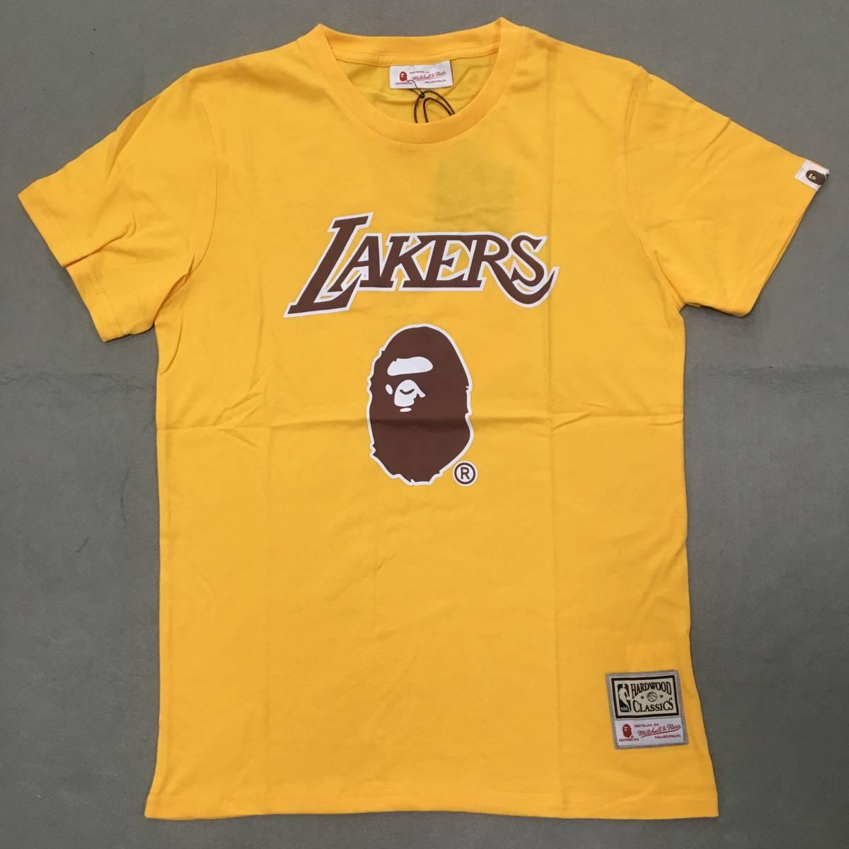 人気 Bape x Mitchell & Ness Tee NBA レイカーズ Lakers 半袖Tシャツ イエロー L NO.93 エイプ 100%綿 新品、未使用 送料無料
