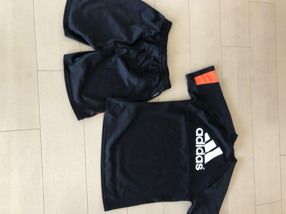 アディダス上下セットアップ150黒オレンジサッカー陸上ランニングゲームシャツadidas_画像2