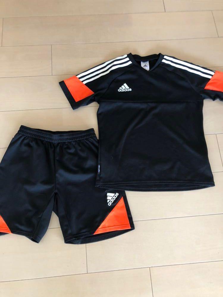 アディダス上下セットアップ150黒オレンジサッカー陸上ランニングゲームシャツadidas
