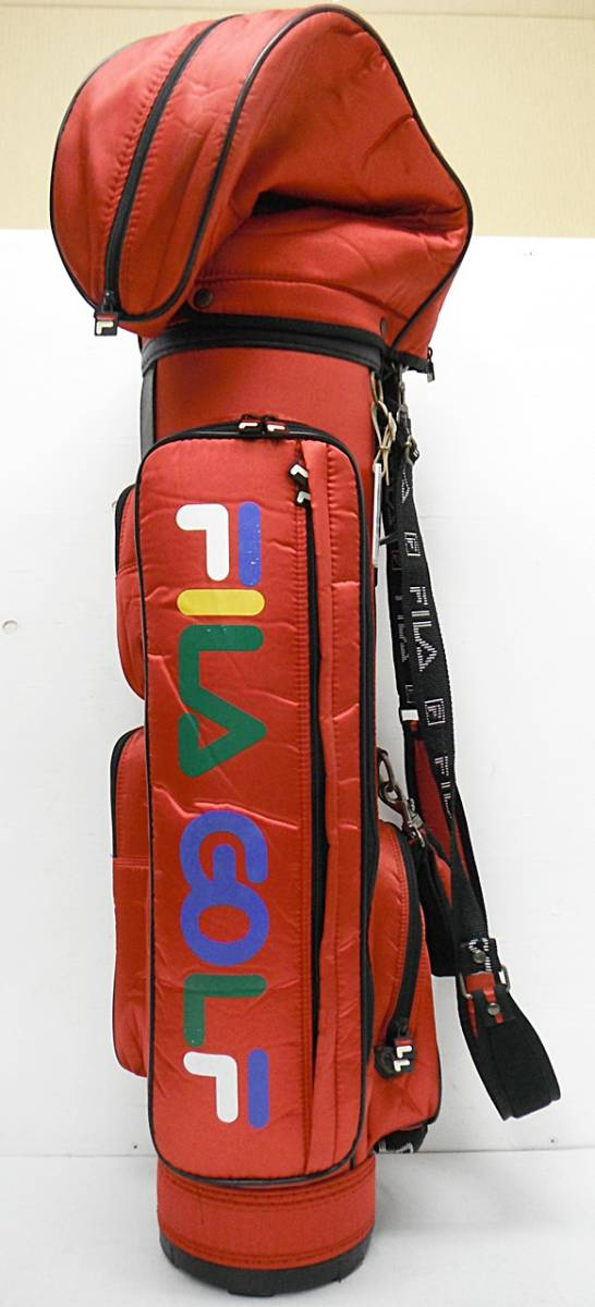 ★FILA GOLF フィラゴルフ ゴルフバッグ キャディバッグ 赤 専用フード付き[5-632-4]_画像2