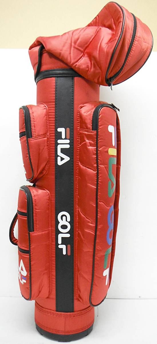 ★FILA GOLF フィラゴルフ ゴルフバッグ キャディバッグ 赤 専用フード付き[5-632-4]_画像4