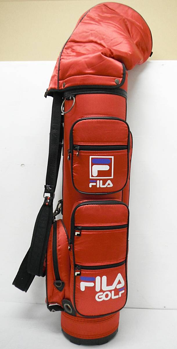 ★FILA GOLF フィラゴルフ ゴルフバッグ キャディバッグ 赤 専用フード付き[5-632-4]