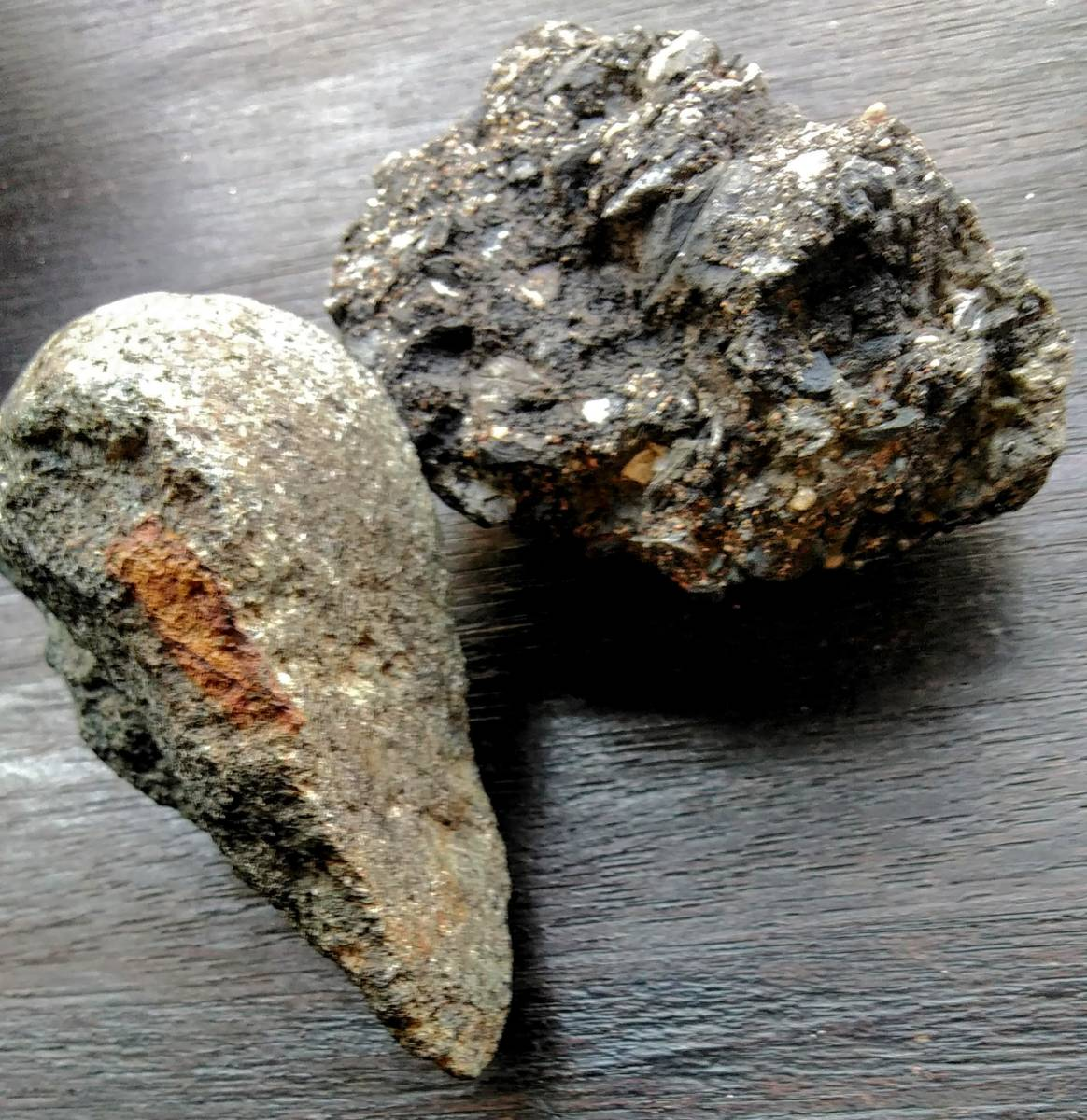 匿名クロネコ送料込み■マイストーンに■■東京落下★★掌サイズ・炭素質隕石マトリックス、石質隕石コンドライトの二種の隕石 合計約263g_画像5