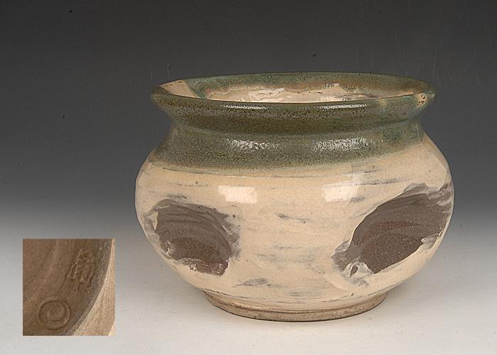 ■昔の夢■f63 時代 十時窯 上野焼水指 合箱 茶道具