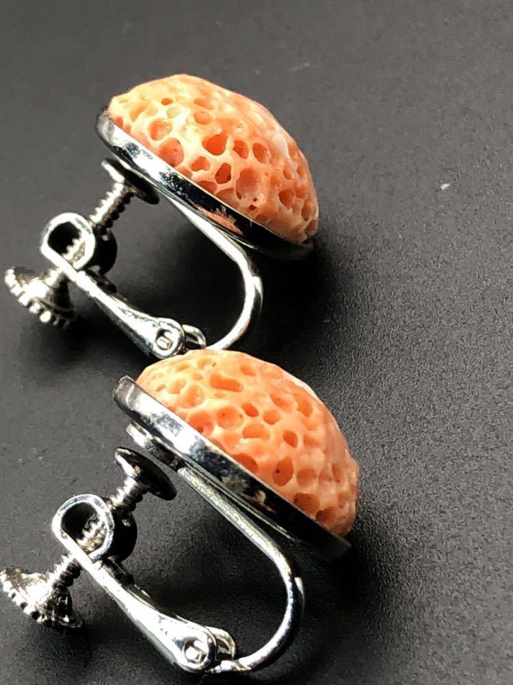 500円~ 本珊瑚 虫食い サンゴ イヤリング 6.4g さんご _画像3