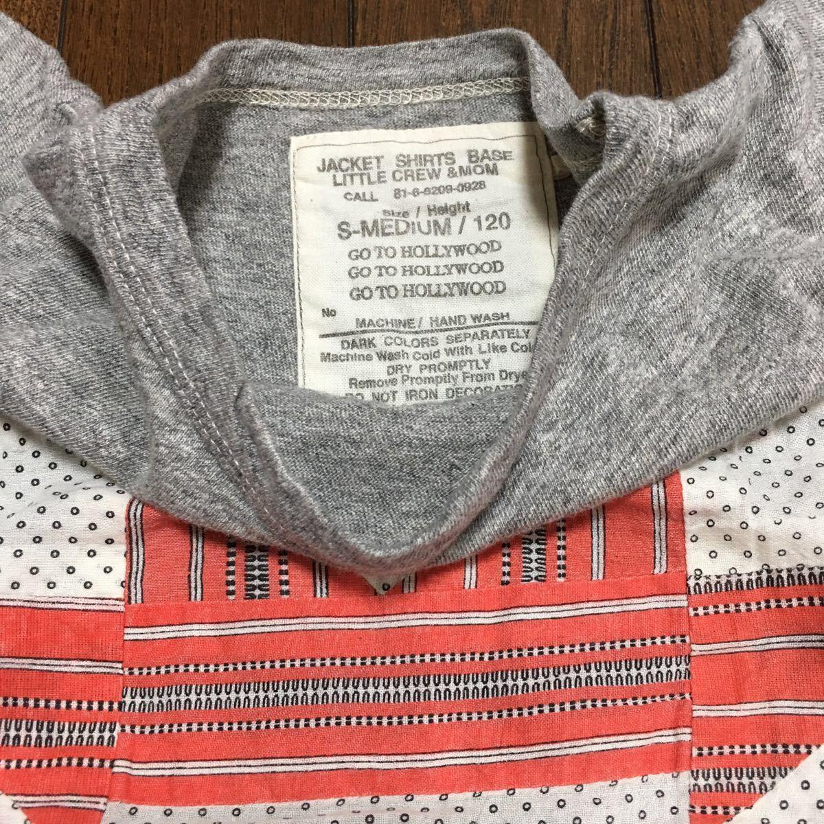 美品☆GO TO HOLLYWOOD・パッチワーク半袖Tシャツ☆120・杢グレー・FITHフィス・デニム&ダンガリー_画像2