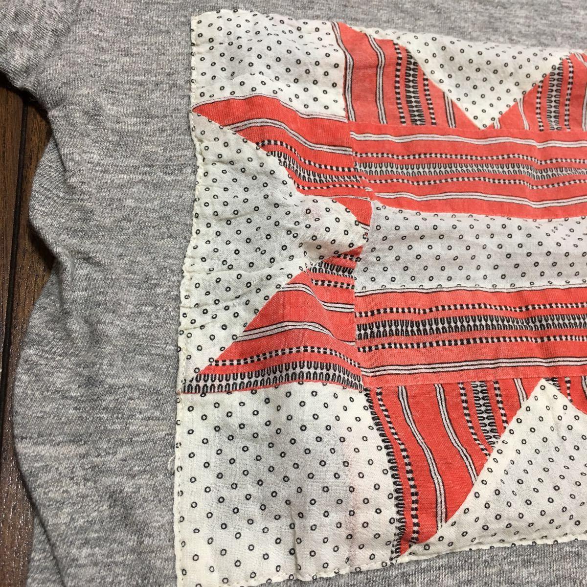 美品☆GO TO HOLLYWOOD・パッチワーク半袖Tシャツ☆120・杢グレー・FITHフィス・デニム&ダンガリー_画像3