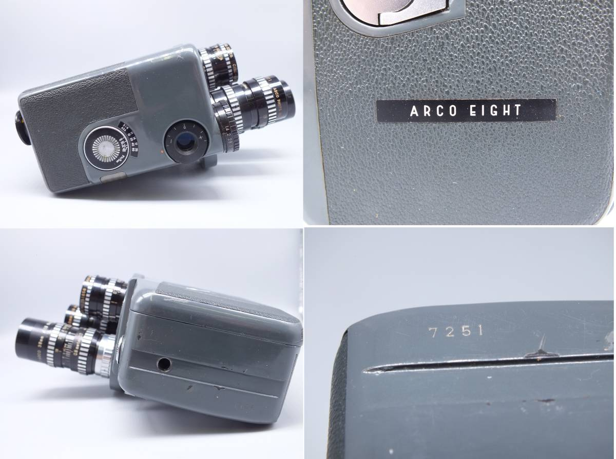 ARCO アルコ/Model CH-8/8mm CINE CAMERA/フィルムカメラ/シネカメラ/動作品/ゼンマイ/コレクション/取説 箱付属/管E0514_画像5