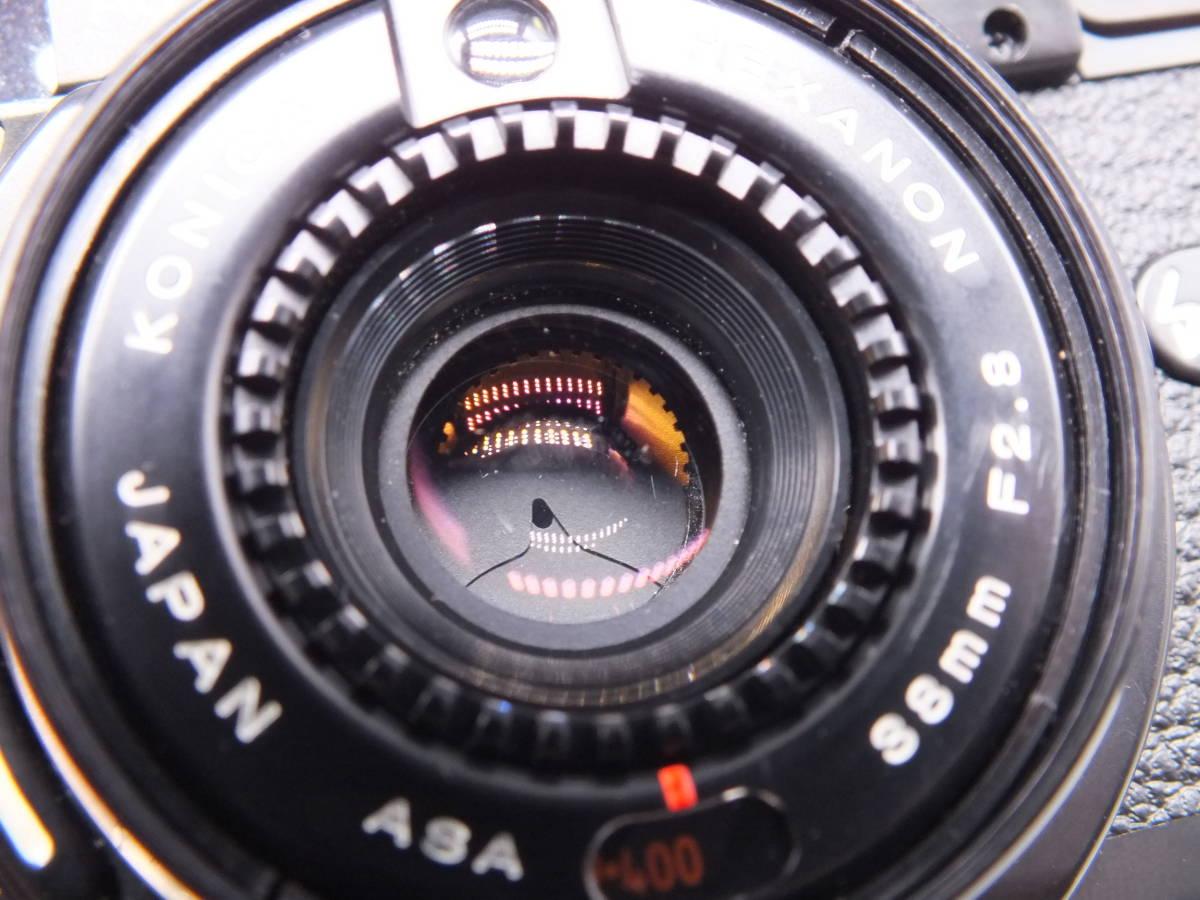 KONICA コニカ/C35 AF2/コンパクト フィルムカメラ/レンズ HEXANON 38mm F2.8/動作品/ケース・フィルター付属/管D0527_画像9