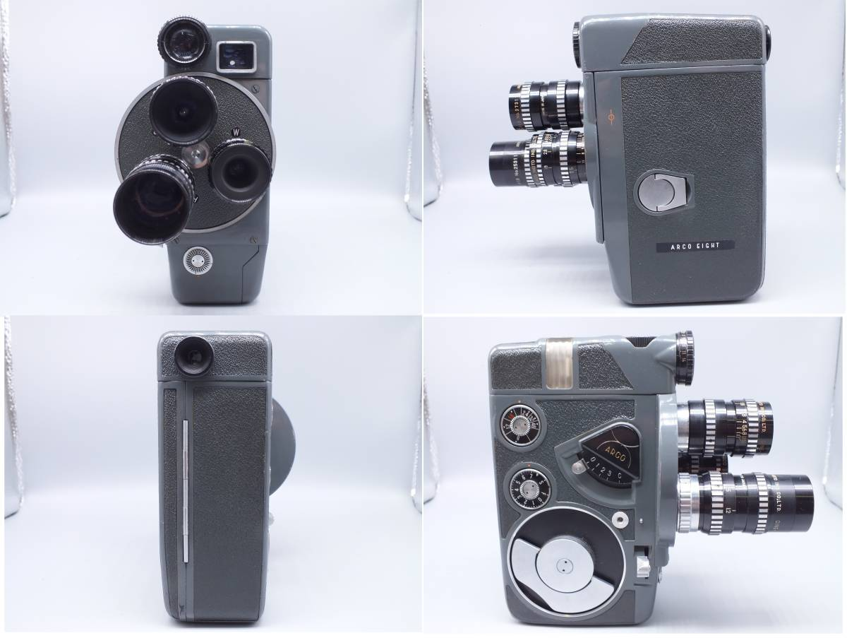 ARCO アルコ/Model CH-8/8mm CINE CAMERA/フィルムカメラ/シネカメラ/動作品/ゼンマイ/コレクション/取説 箱付属/管E0514_画像4