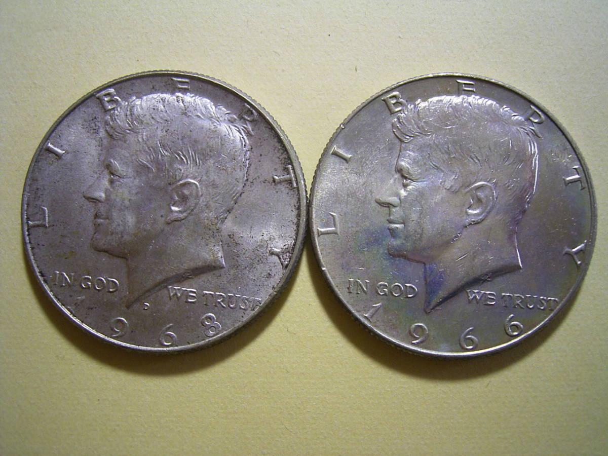 5、アメリカ 50セント銀貨 1966・68年 2枚 23,2g_画像2
