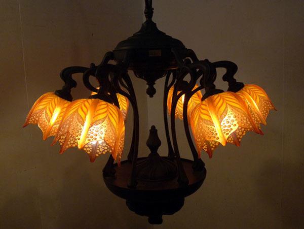 ヤマギワ イタリア製 アール・ヌーヴォー 6灯 シャンデリア 真鍮×ガラス/アンティーク匠大塚domaniドレクセル迎賓館ミュシャサァラ麻布