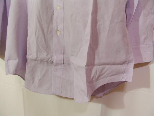 ssy1277 renoma メンズ 長袖 ワイシャツ パープル×ホワイト ■ ピンストライプ ■ 胸ポケット 綿100% Mサイズ 訳アリ_画像6