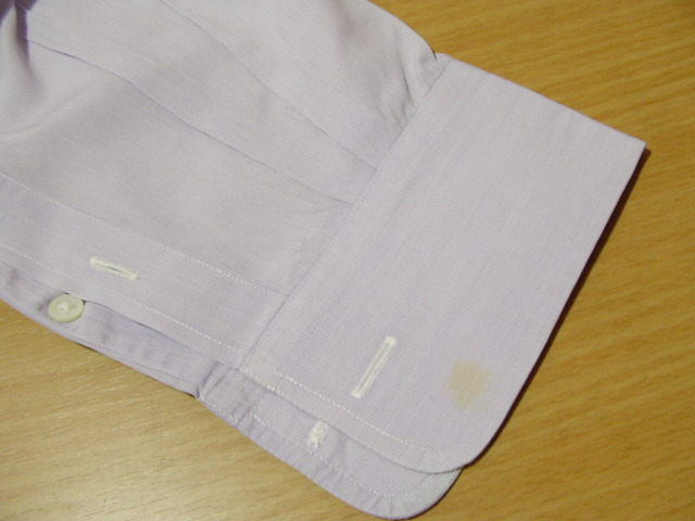 ssy1277 renoma メンズ 長袖 ワイシャツ パープル×ホワイト ■ ピンストライプ ■ 胸ポケット 綿100% Mサイズ 訳アリ_画像4