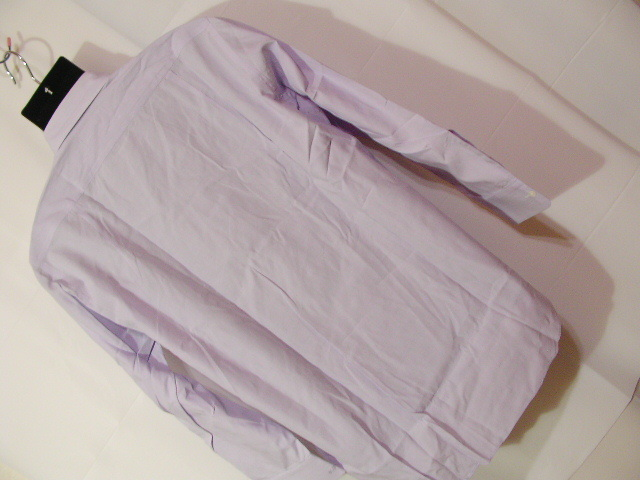 ssy1277 renoma メンズ 長袖 ワイシャツ パープル×ホワイト ■ ピンストライプ ■ 胸ポケット 綿100% Mサイズ 訳アリ_画像10
