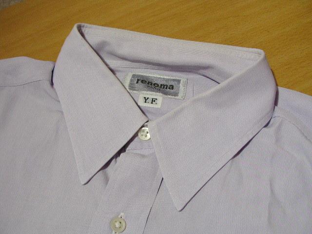 ssy1277 renoma メンズ 長袖 ワイシャツ パープル×ホワイト ■ ピンストライプ ■ 胸ポケット 綿100% Mサイズ 訳アリ_画像3