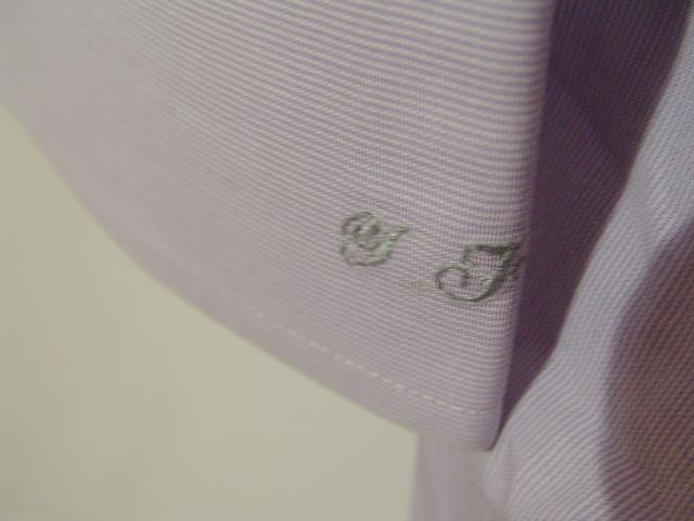 ssy1277 renoma メンズ 長袖 ワイシャツ パープル×ホワイト ■ ピンストライプ ■ 胸ポケット 綿100% Mサイズ 訳アリ_画像5