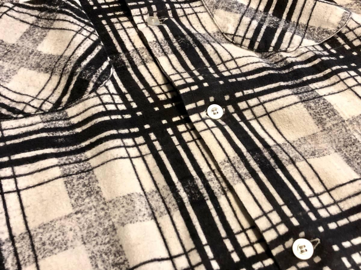 50s ヴィンテージ プリント ネルシャツ CAMPUS ブラック プリネル 古着 levis デニム バンドT 60s オンブレ レーヨン_画像3