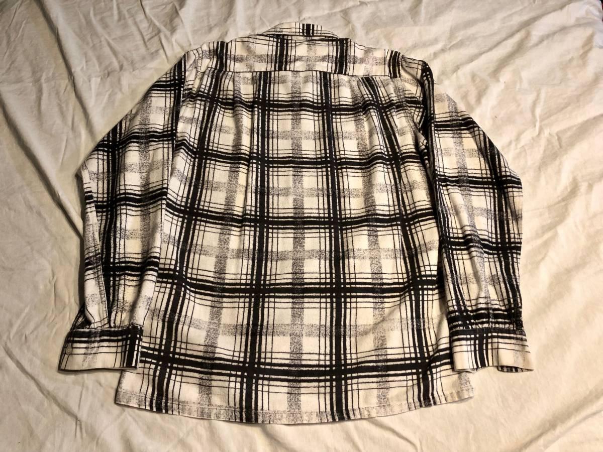 50s ヴィンテージ プリント ネルシャツ CAMPUS ブラック プリネル 古着 levis デニム バンドT 60s オンブレ レーヨン_画像4