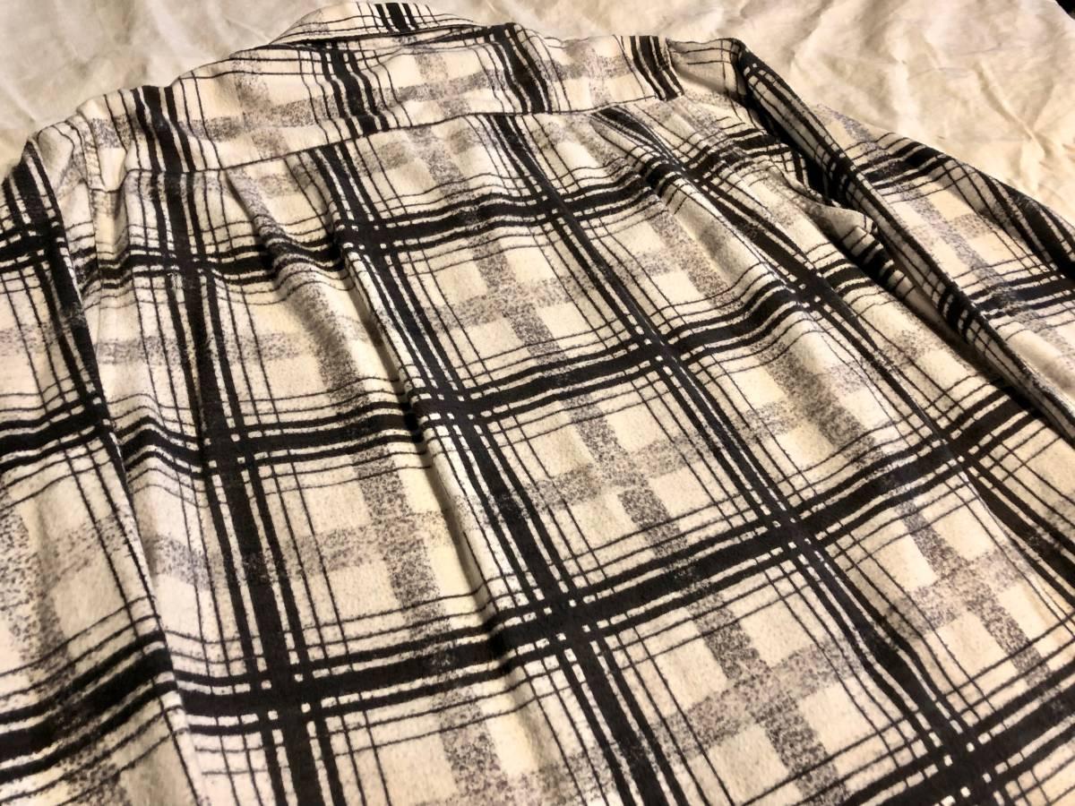 50s ヴィンテージ プリント ネルシャツ CAMPUS ブラック プリネル 古着 levis デニム バンドT 60s オンブレ レーヨン_画像5