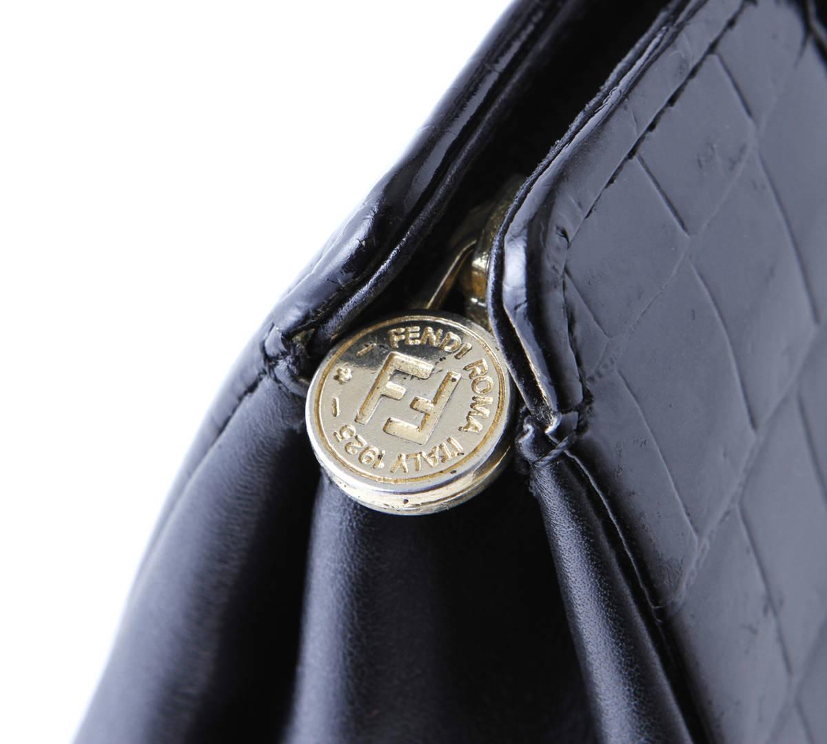 美品 FENDI フェンディ 本ワニ革 クロコダイル ×レザー トートバッグ ショルダーバッグ イタリア製 黒 ブラック ヴィンテージ_画像6