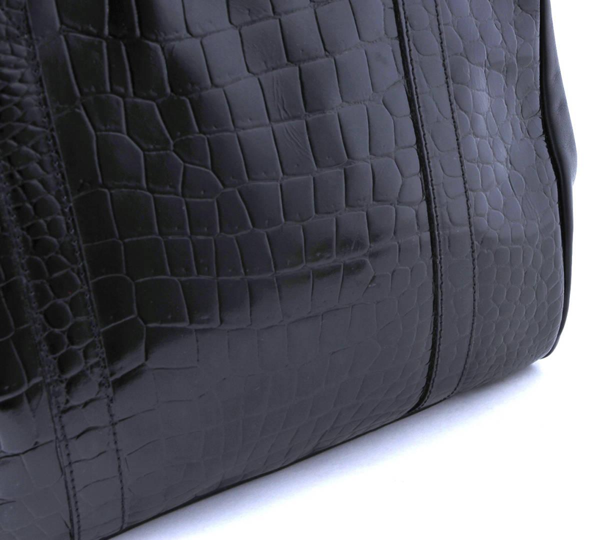 美品 FENDI フェンディ 本ワニ革 クロコダイル ×レザー トートバッグ ショルダーバッグ イタリア製 黒 ブラック ヴィンテージ_画像4