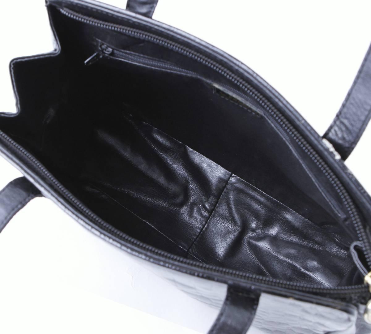 美品 FENDI フェンディ 本ワニ革 クロコダイル ×レザー トートバッグ ショルダーバッグ イタリア製 黒 ブラック ヴィンテージ_画像9