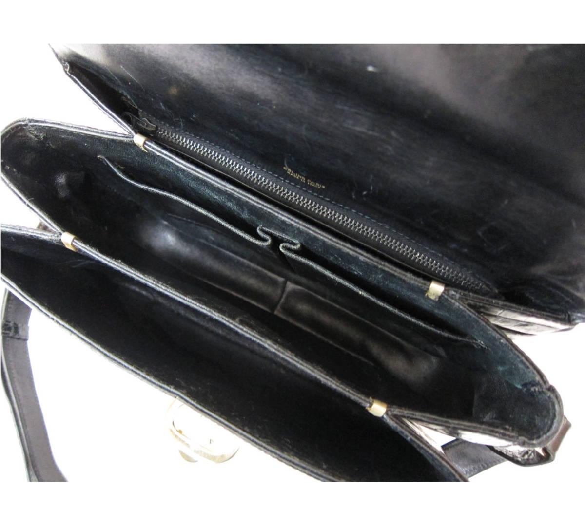 5b98afc6172b 美品 CELINE セリーヌ 馬車金具 本ワニ革 クロコダイル レザー ショルダーバッグ ハンドバッグ 極希少