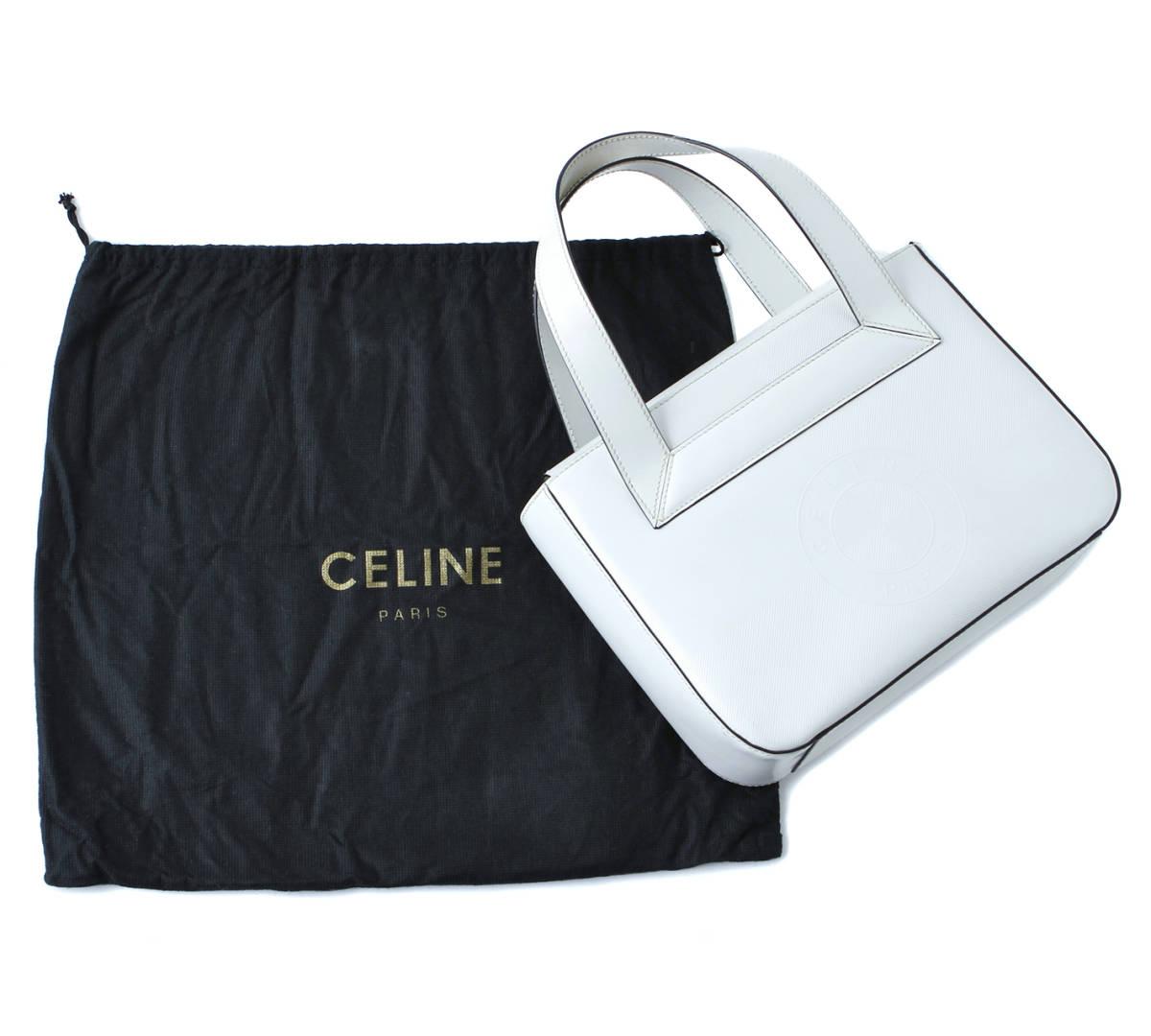 2b9867ea5a86 美品 CELINE セリーヌ サークルロゴ 型押し ハンドバッグ トートバッグ イタリア製 白 ホワイト ヴィンテージ 希少